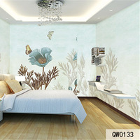 Custom Print DIY Fabric Textile Wallcoverings For Walls Cloth Wallpaper Matt Silk For Bedding Room Flowers