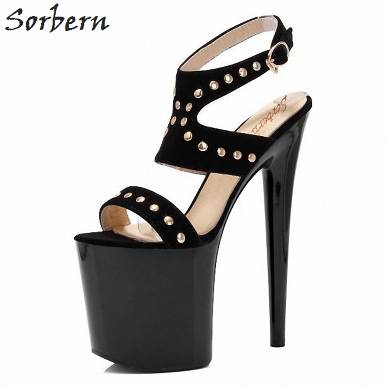 Sorbern 20Cm Spike High Heel Women Sandals Rivets Thick Heels Woman Shoes Summer Goth Shoes Sexy Fetish Heels Open Toe Summer