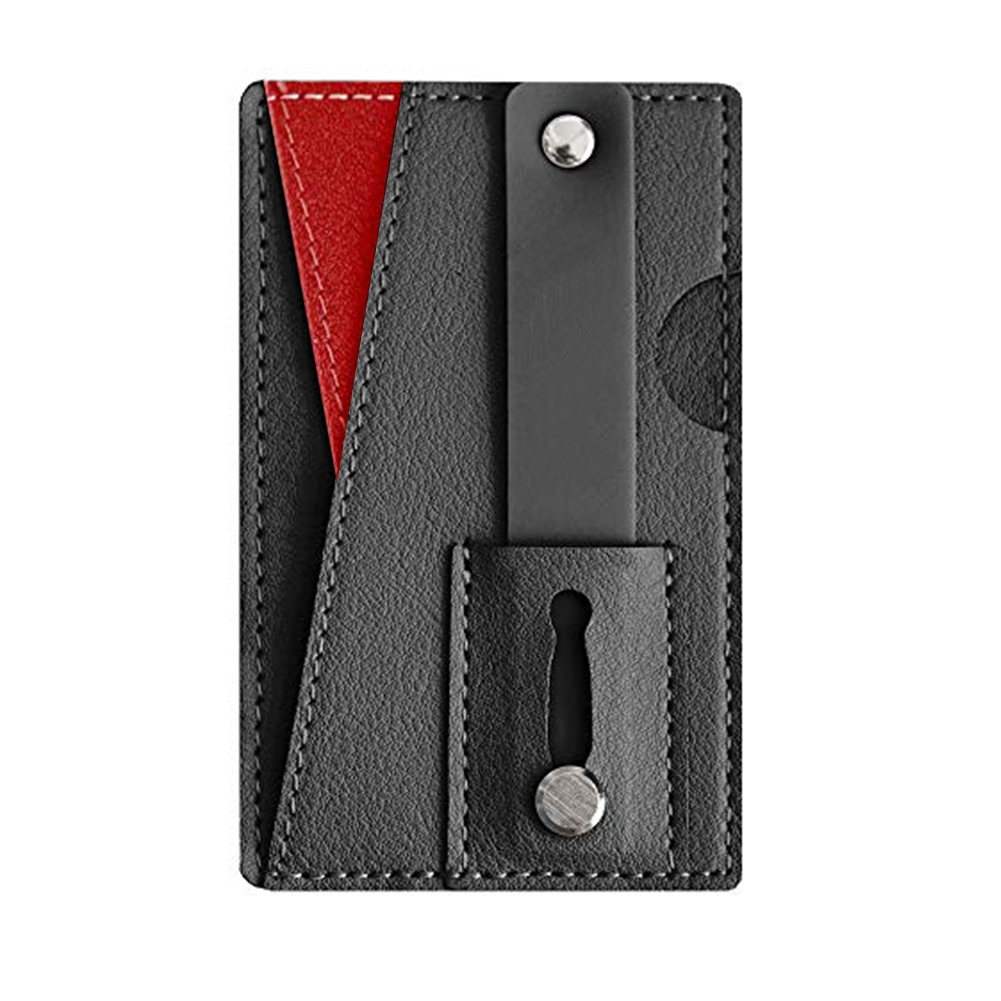 PU Leather Phone Wallet Slim Universal Adhesive Pouch Wear Resistant Multifunction Portable Card Holder Sticker Back Pocket
