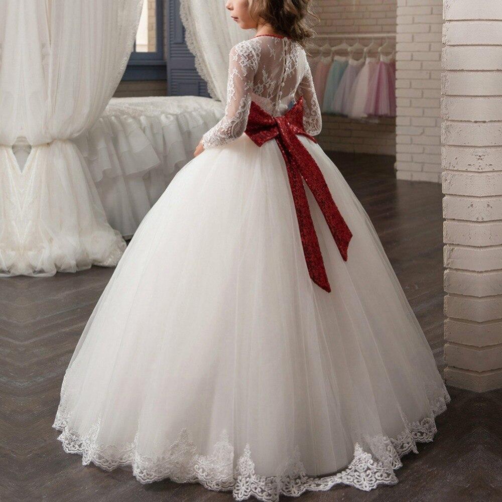 Elegant Girls Dress Baby Kid Vintage Flower Girls Party Trailing Long Dress Wedding Bridesmaid Communion Party