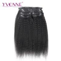 YVONNE CHEVEUX Brésiliens Vierge Cheveux Crépus Droite Clip En Extensions de Cheveux Humains 12-22 pouces 7 Pièces/ensemble Naturel Couleur 120 g/ensemble