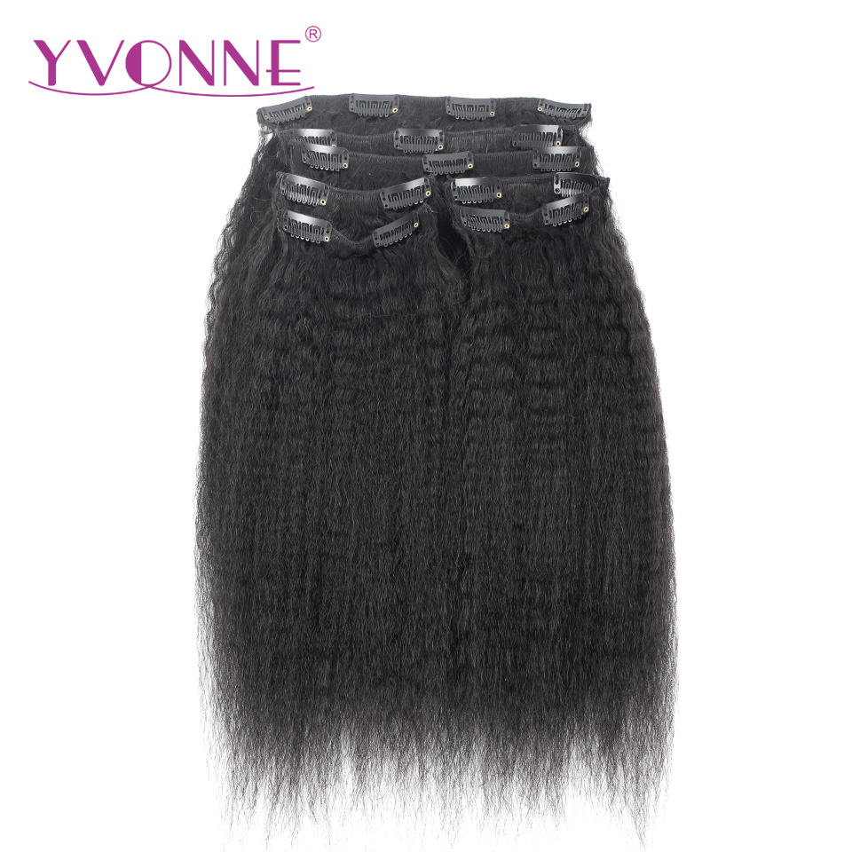 YVONNE HAIR Brazilian Virgin Hair Kinky Straight Clip In Human Hair Extensions 12-22inches 7 Pieces/Set Natural Color 120g/set