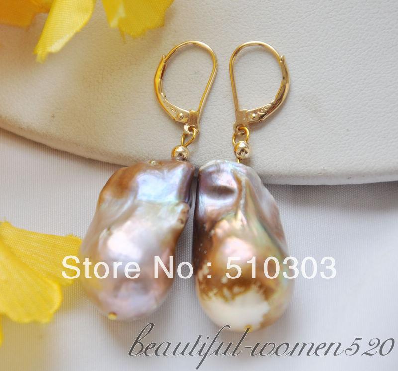 "H041714 1.7/"" 20mm Sea Shell Pearl Earrings"