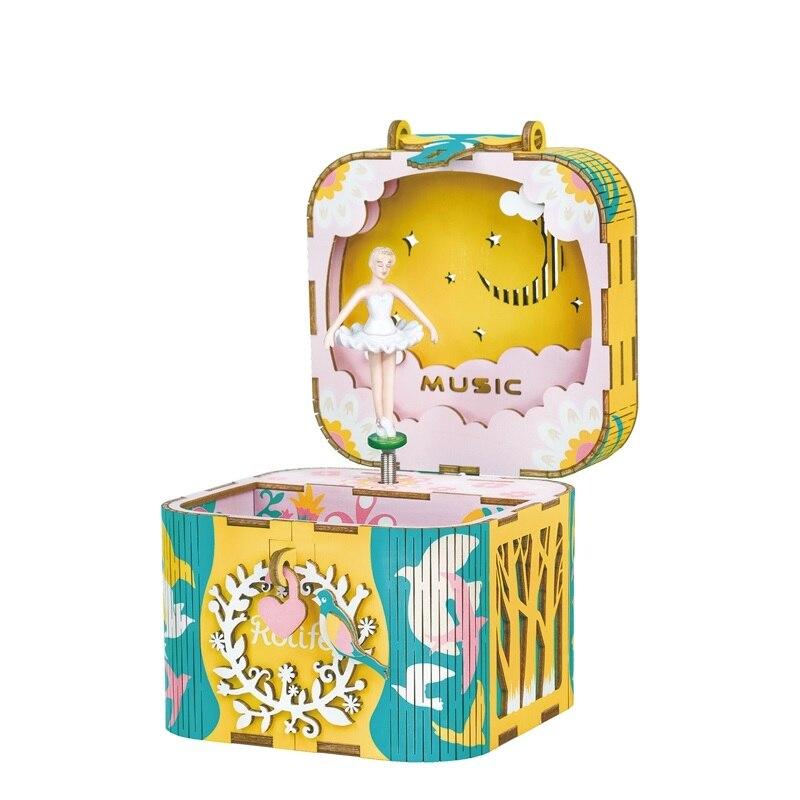 Robotime DIY Dancing Ballerina Wooden Rotatable Music Box Handmade Home Decor Jewelry Gifts For Children GirlFriend AMD52