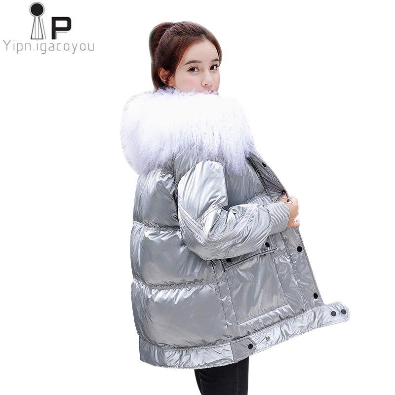 Winter Lamb Fur Collar Duck Down Coat Women 2019 New Fashion Short Women Down Coat Thick Warm Ladies Silver Down Jacket Outcoat