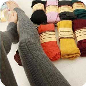 Leggings Blended-Pants Knitted Autumn Cotton Casual Women Spring Warm Fashion for Thick