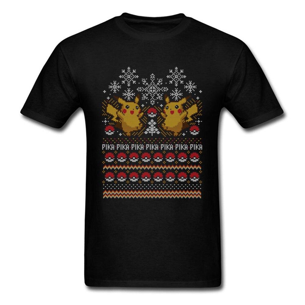 Anime Pokemon T-shirt Men Pikachu T Shirt Pika Tshirt Catch Them All Adventure Tops Mens Xmas Sweater Tees Christmas Gift