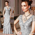 Plus size 2016 Sliver frisada mãe vestidos longo Formal vestido de noite elegante sem encosto mãe de vestidos de noiva