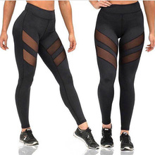 2016 Fitness Leggings Women High Waist Sexy Patchwork Mesh Leggings Skinny Push Up Mujer Fitness jeggings free shpping
