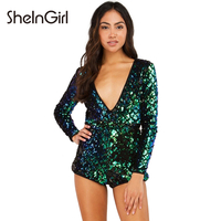 SheInGirl Sexy Backless Solid Women Playsuits Deep V Neck Sequin Casual Rompers Zipper Brief Skinny Female