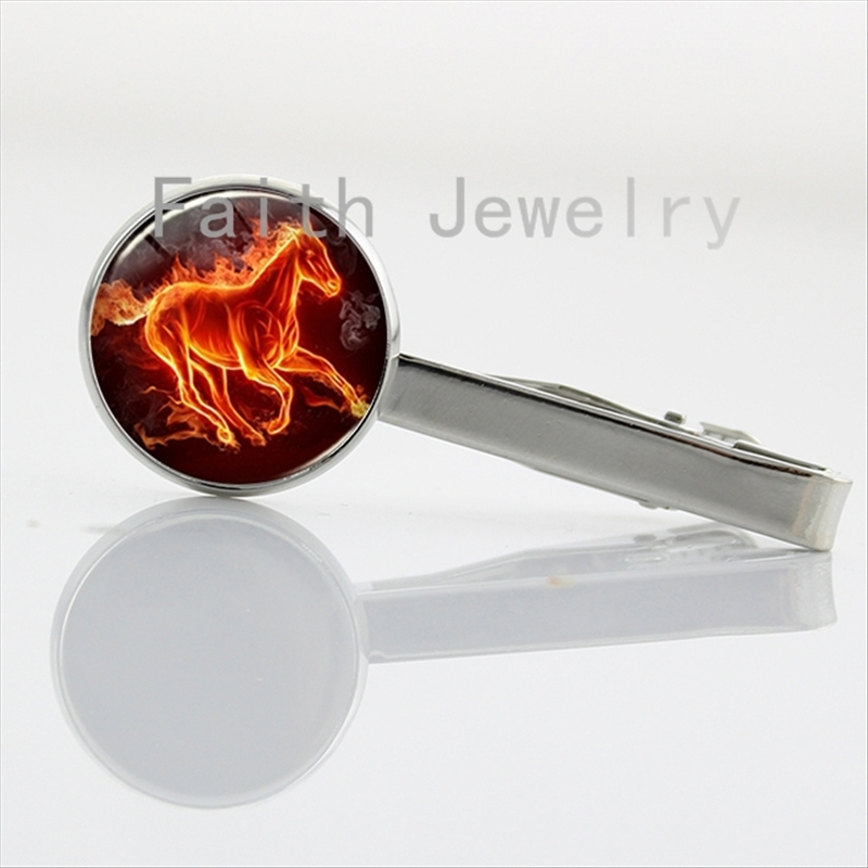 Cool animal jewelry burning horse art picture tie pins nature charm riding horse tie clip personalized handmade gifts NS260