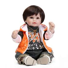 52 cm Réaliste Baby Doll Lifelike Bébé Garçon Poupées Silicone Reborn Bébés Enfants Poupée cadeau Doux Tactile bebe cadeau reborn bonecas