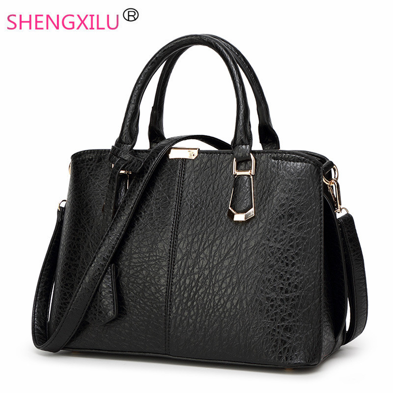 ФОТО Shengxilu leather women handbags 2017 new brand female bags fashion big girls shoulder bags black tassel crossbody bags