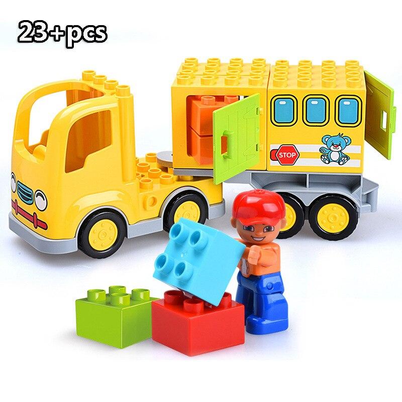 13-109pcs Large particles City Transport Team Car Model Series Building Block Bricks Compatible Duploe Toys for children Kids GIft (15)