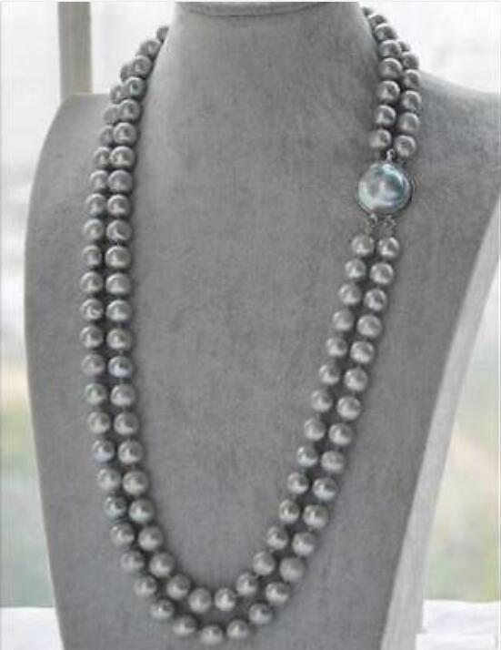 2 ROW 9-10MM AAA SOUTH GRAY PEARL NECKLACE 24-25 INCH цена и фото
