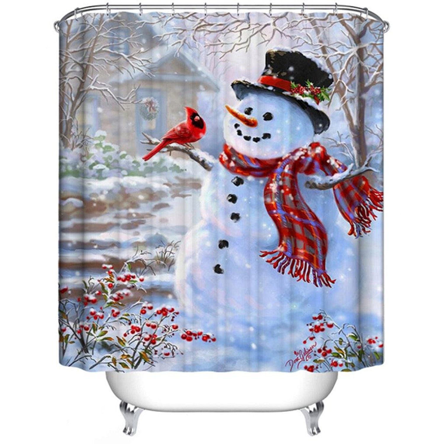 Winter shower curtain - Charmhome Winter Holiday Merry Christmas Happy Snowman And Cardinals Shower Curtain Waterproof Polyester Fabric Bath Curtain