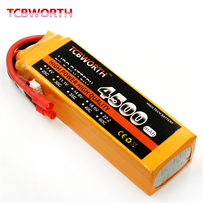 New Original Reachargeable RC LiPo battery 4S 14.8V 4500mAh 30C 60C For RC Helicopter AKKU Drone Truck battery LiPo 4S TCBWORTH(China)