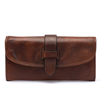Unisex vegetable tanned wallet in long wallet Casual multi walled wallet Cross section square hand brushed color clutch