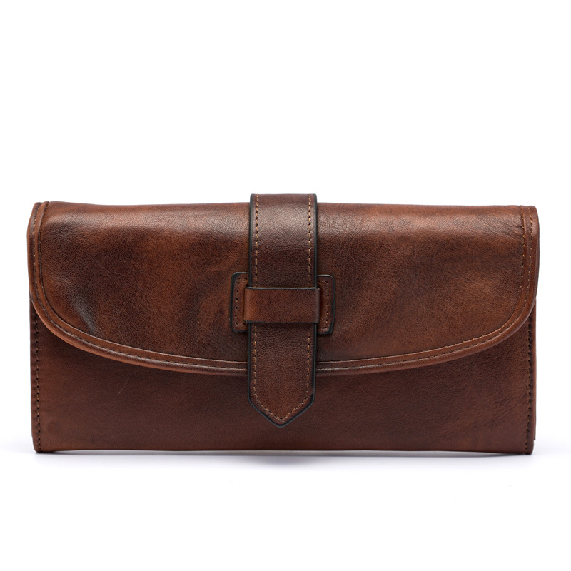 Unisex vegetable tanned wallet in long wallet Casual multi-walled wallet Cross-section square hand-brushed color clutchUnisex vegetable tanned wallet in long wallet Casual multi-walled wallet Cross-section square hand-brushed color clutch