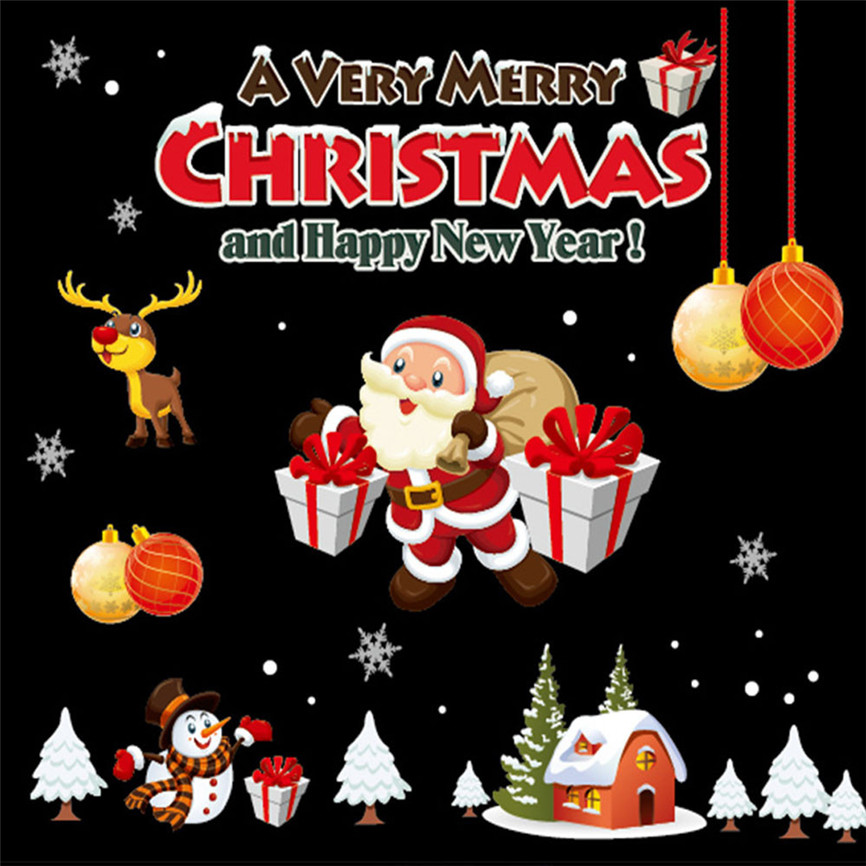 Wallpaper Sticker Merry Christmas Household Window Wall Sticker Mural Decal Removable Xmas 72*54cm Wallpapers For Living Room B#