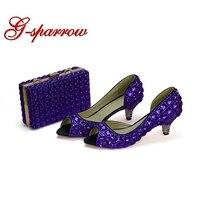 Свадебные туфли 2 дюйм(ов) на низком каблуке Для женщин вечерние танцевальные туфли с открытым носком фиолетовыми стразами Золушка туфли дл