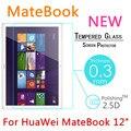"""Nueva matebook 9 h 0.3mm de cristal templado de cine para huawei mate libro 12 """"tablet pc a prueba de explosiones templado protector de la pantalla cubierta"""