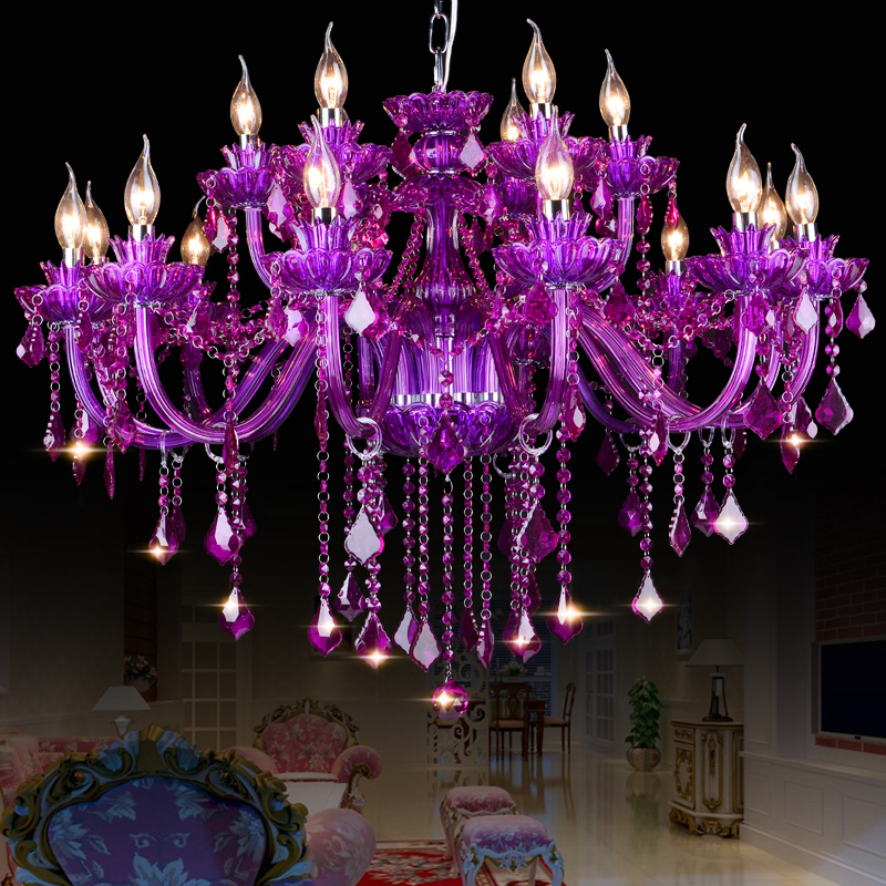 Crystal chandelier purple lampshades for living dining room lustres crystal chandelier purple lampshades for living dining room lustres de cristal para sala modern chandeliers lighting fixture in chandeliers from lights mozeypictures Gallery