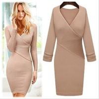 Free Shipping Western Style Star Fashion Autumn Winter New Arrival V Collar Slim Knitting Dress