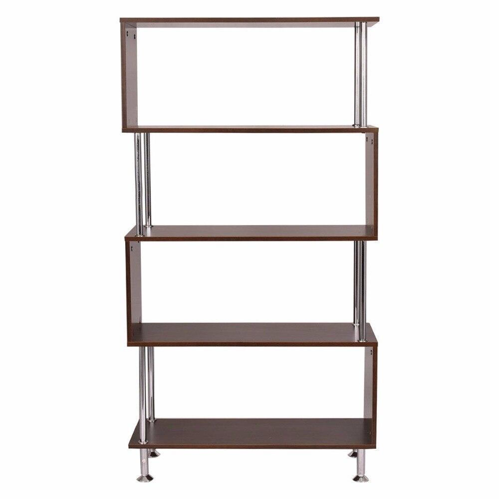 Goplus 32 x 12 x 58 4 полки книжный шкаф деревянный современной книжной полке хранения Дисплей блок Мебель дома шкафы Дисплей стойки hw52820