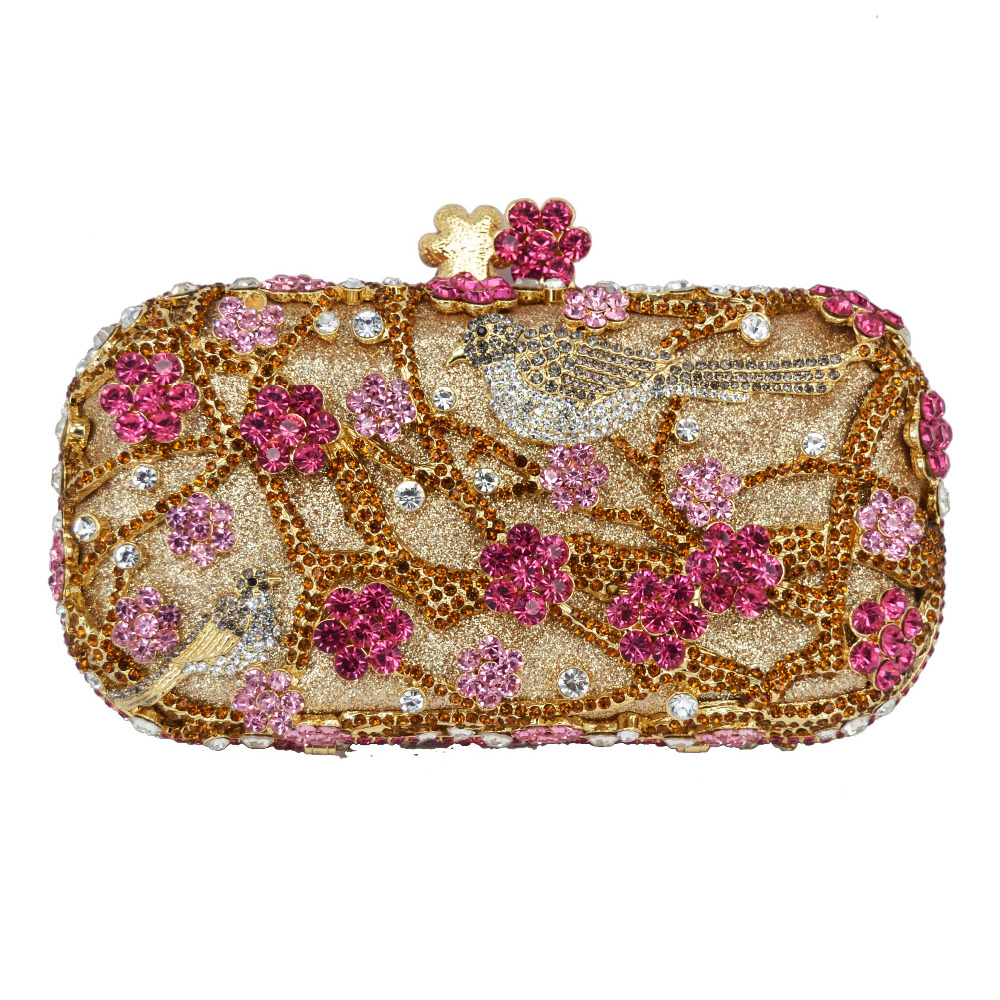 party evening clutch bags Flower Pattern Evening Bag Blue Luxury Crystal RED Evening Clutch Bag Gold Diamond Party Purse 88344 faux crystal mosaic clutch evening bag