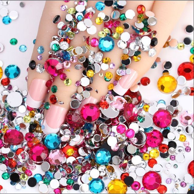 98e2f2243fc3 3 4 5mm Color Mixed Clear Crystal Stone FlatBack Rhinestones Trim Strass  Glitter DIY Nail Craft Jewelry Dress Phone Decoration