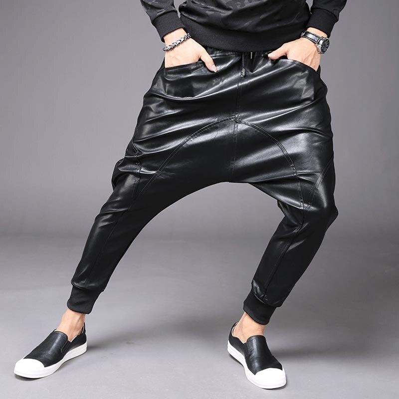 M 6XL nouvelle mode hommes Punk Moto PU Faux cuir décontracté Harem goutte entrejambe pantalon jean rue danse DJ Rock pantalons pantalon M 2XL - 5