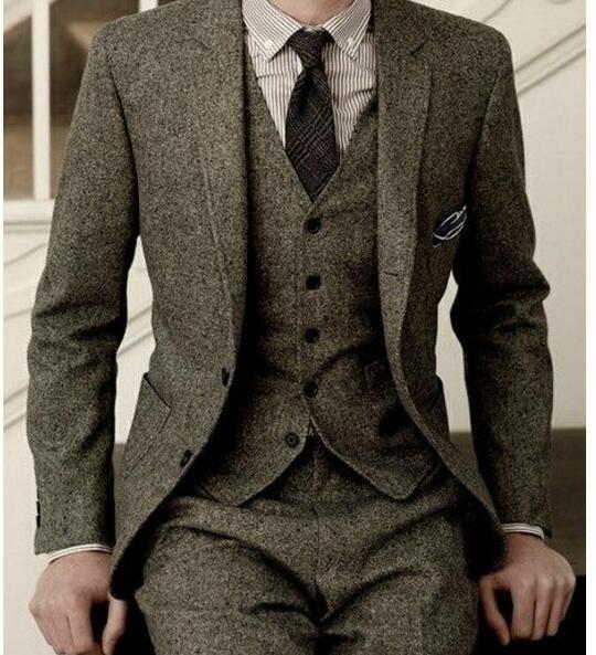 Tweed grigio Abiti Da Uomo Slim Fit Smoking Dello Sposo 3 Pezzo Slim Fit  Mens Wedding Prom Abiti Cena (Jacket + Pants + Vest) in Tweed grigio Abiti  Da Uomo ... c80f68255e1