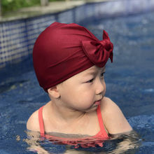 Baby swim Turban bow hat sun Swim suit girl Beach Newborn hospital beanies Infant Top knot H015S