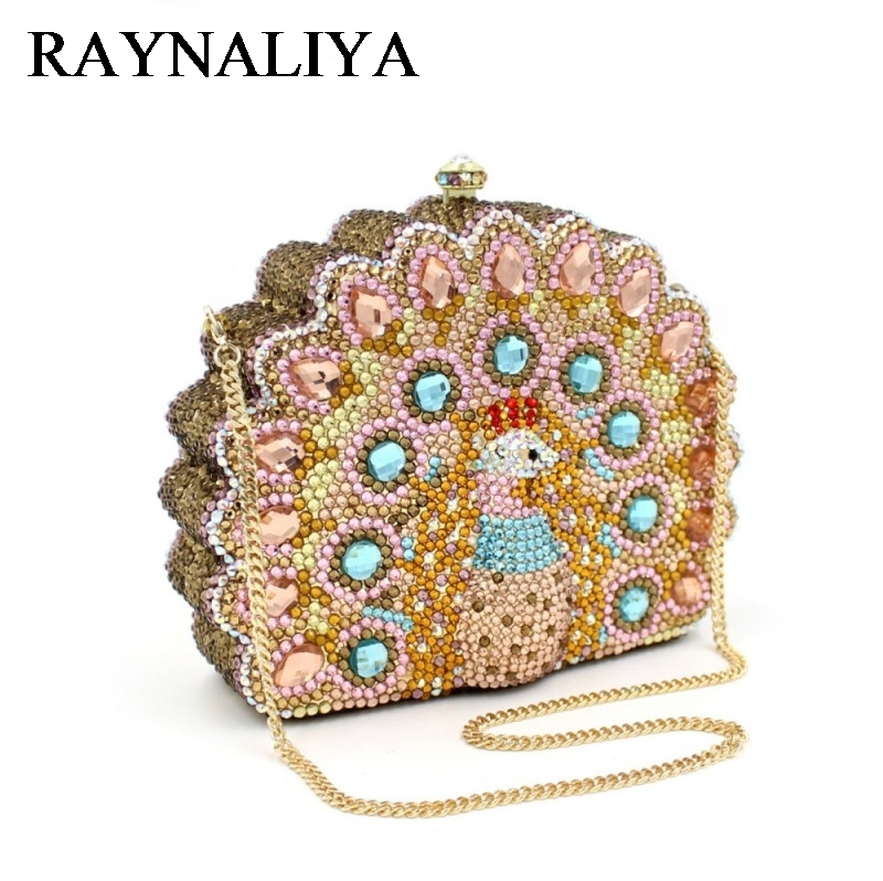 Lady Peacock Shape Fashion Women Party Day Clutches Box Purse Crystal Evening Bags Female Gold Wedding Design ZH-B0219 fashion lady with glasses white acrylic women metal box clutches evening party totes handbag purse casual shoulder crossbody bag