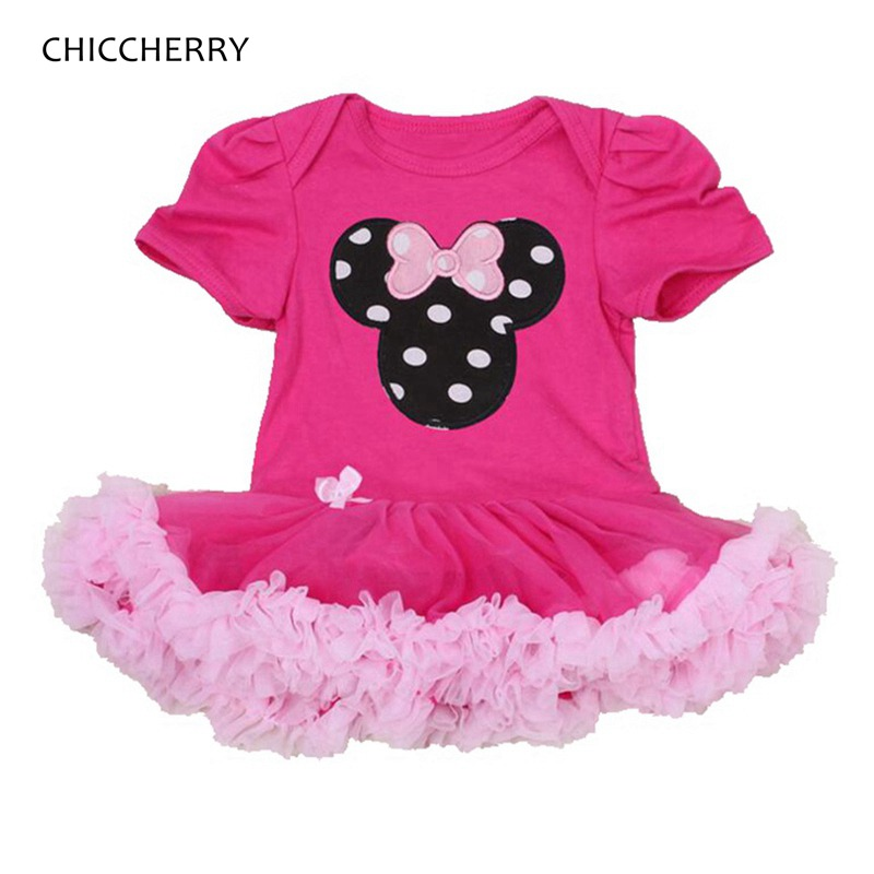 Hot Pink Baby Costume Minnie Lace Romper Party Dresses Macacao Bebe Jumpsuits Summer Infant Clothing Newborn Baby Girl Clothes