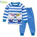 Hello Kitty Algodón de la Muchacha Camisa de Manga larga que arropan el sistema completo Traje de Top + leggings Outfit Ropa Set Niño Bebé Ropa de verano