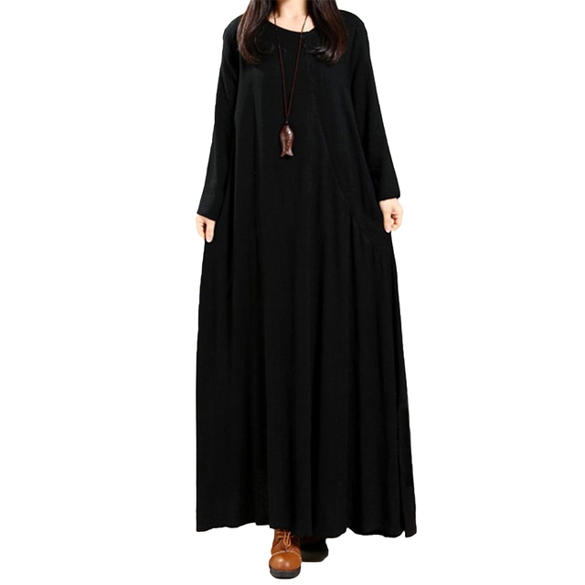 3bb130938d Women Maxi Dress Cotton Linen Buttons Pockets Irregular O Neck Vestidos  Long Sleeve Gown Loose Vintage Lady Solid Dress Oversize