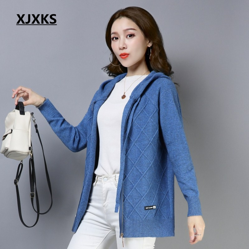 XJXKS jersey mujer good quality cardigan women coat hooded brand design comfortable wool knit wear womens
