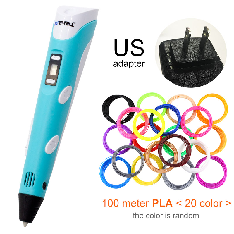 Myriwell, 3D ручка, светодиодный экран, сделай сам, 3D Ручка для печати, 100 м, ABS нити, креативная игрушка, подарок для детей, дизайнерский рисунок - Цвет: Blue US-100m PLA
