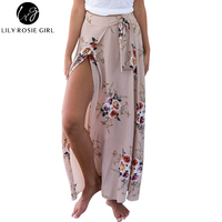 Lily Rosie Girl Khaki Floral Print Long Skirts Women Summer Elegant Beach Maxi Skirt Boho Style