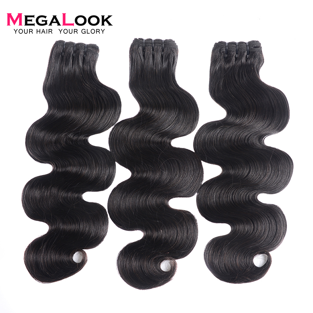 Megalook Brazilian Body Wave Double Drawn Hair Bundles Unprocessed Natural Black Hair Weave Bundle