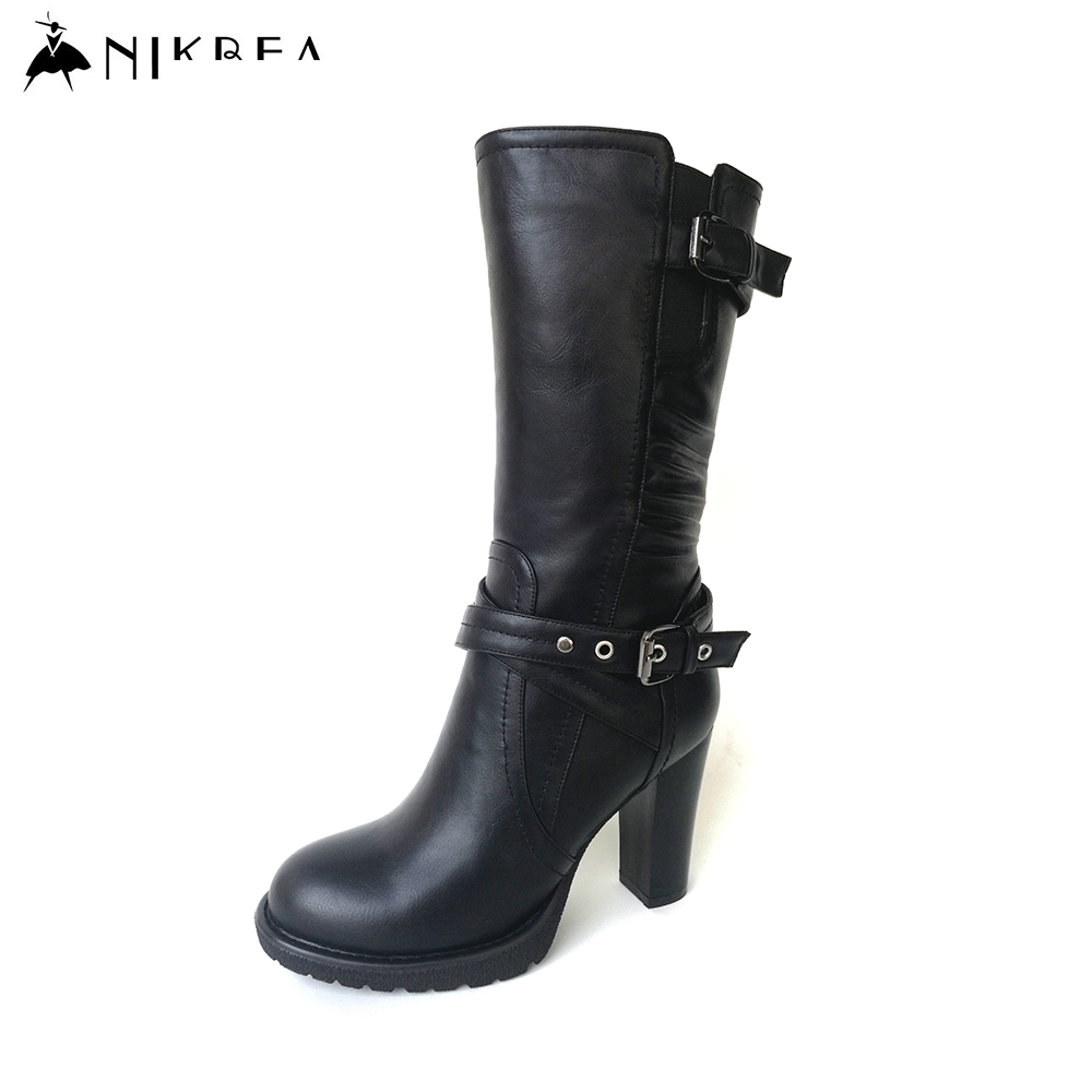 Nikbea Black Short Boots High Heel 2016 Winter Boots Riding Ladies Pu Leather Boots Fashion Botas