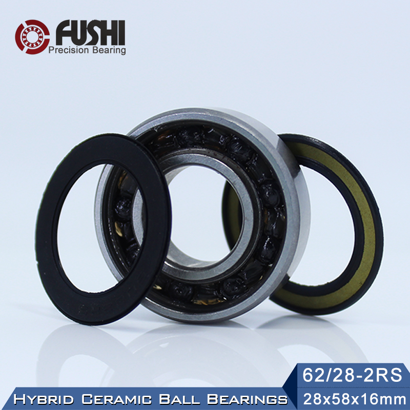 62/28 Hybrid Ceramic Bearing 28*58*16 mm ( 1PC ) Race Bike Front Rear Wheel 62 28 2RS LUU Hybrids Si3N4 Ball Bearings 62/28RS наклейки brother dk44605 62мм клеящаяся желтый