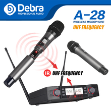 Debra A-28 UHF Handheld Karaoke Microphone Wireless Professional System 2 Channel Frequency Adjustable Cordless For Karaoke high end uhf 8x50 channel goose neck desk wireless conference microphones system for meeting room