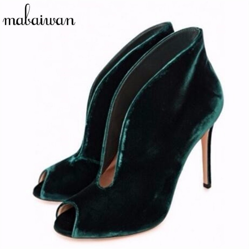 ФОТО Fashion Sexy Open Toe Ankle Boots Green Velvet Deep V Front High Heels Women Pumps Wedding Dress Shoes Woman Valentine Shoes