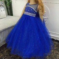 Flower Girl Dress Children New Rhinestone Lace Tulle Floor Length Ball Gown with Hoop Party Wedding Dress Kids Ball Gown Vestido