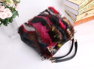 Image 5 - Women Natural Rabbit Hair Tote Bag Lady Winter Cony Hair Muff Fluffy Daily Top handle Bag Female Multicolor Fur Crossbody Bag