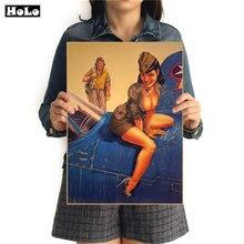 La II Guerra Mundial SEXY Vintage decorativo para colgar póster pintura clásico póster para el Salón de las paredes de papel 42x30cm GGB037