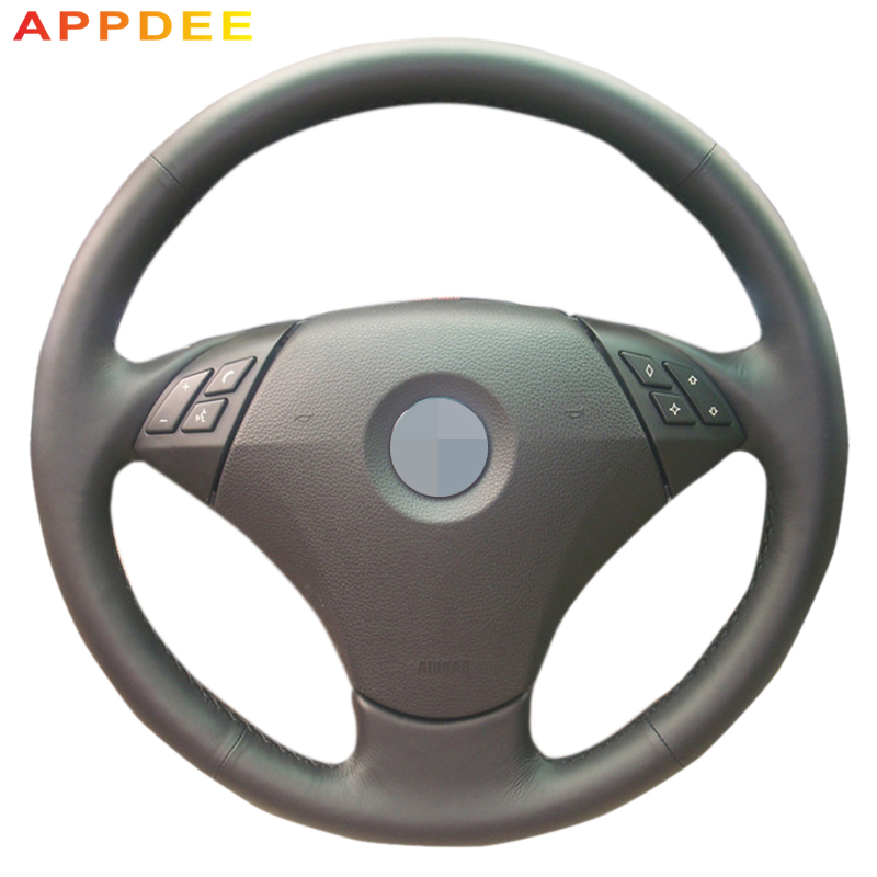 AppDee Black Artificial Leather Car Steering Wheel Cover for <font><b>BMW</b></font> 530 523 523li 525 520li 535 <font><b>545i</b></font> <font><b>E60</b></font> image